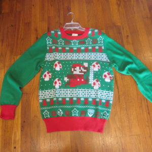 Super Mario Bros. Sweaters - NWT Super Mario Bros. Ugly Christmas Sweater Green